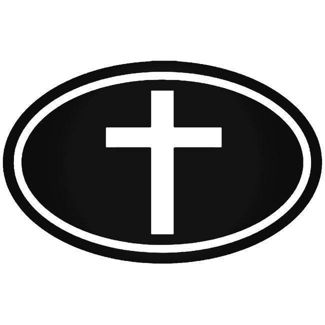 Christian Cross Oval Decal Sticker