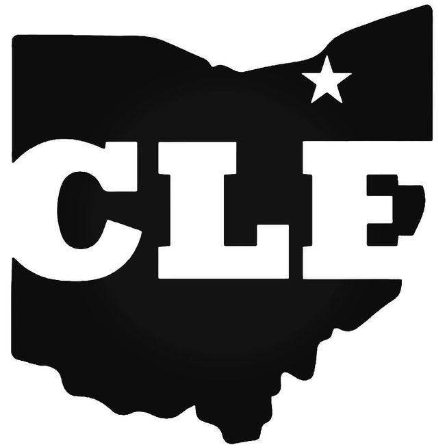 Cle Cleveland Ohio State Map Decal Sticker