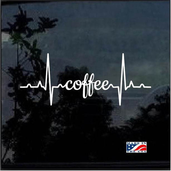 Coffee Heartbeat Window Decal Sticker