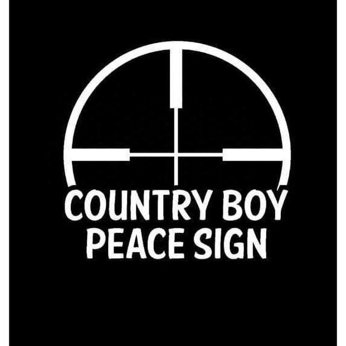 Country Boy Peace Sign Truck Decal Sticker