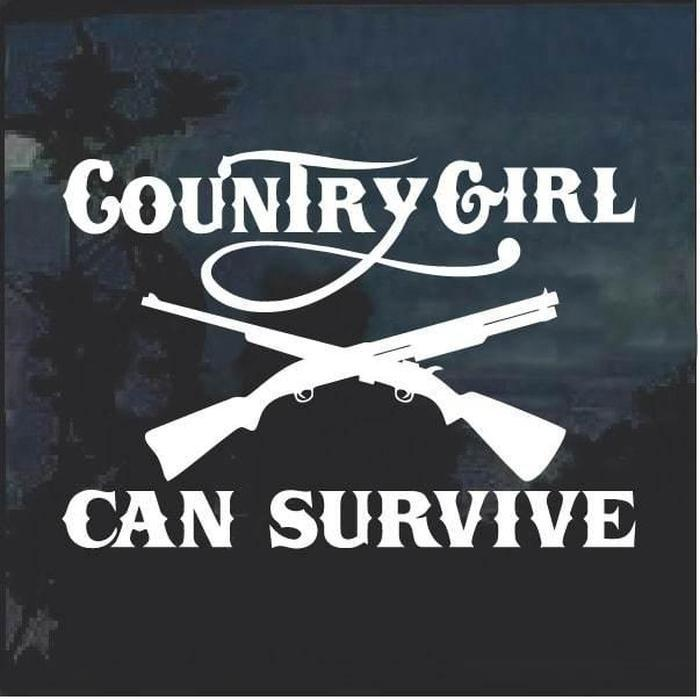 Country Girl Can Survive Window Decal Sticker v2