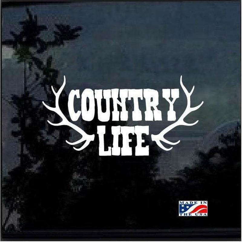 Country Life Antlers Hunting Window Decal Sticker