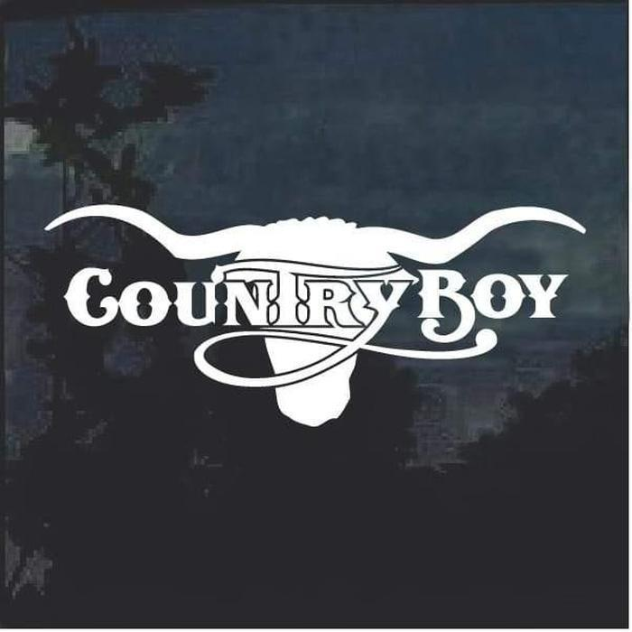 County Boy Cow Skull Window Decal Sticker