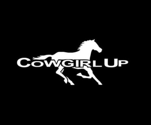 Cowgirl Up with running horse Truck Decal Sticker