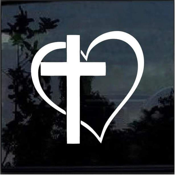 Cross Heart Window Decal Sticker