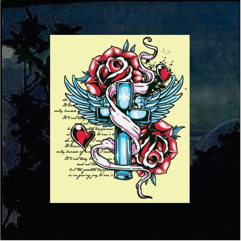 Cross Roses hearts Decal Sticker