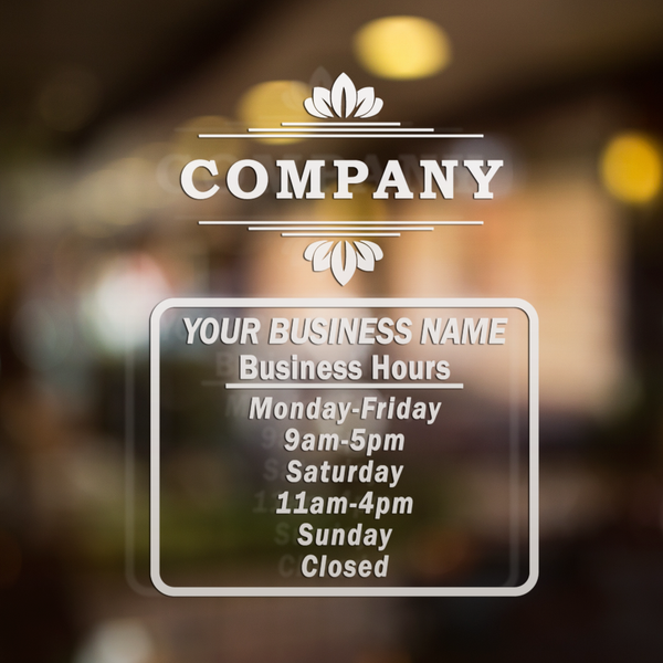 Custom Business Open Hours Decal - Vinyl Window Lettering Sticker - 6024