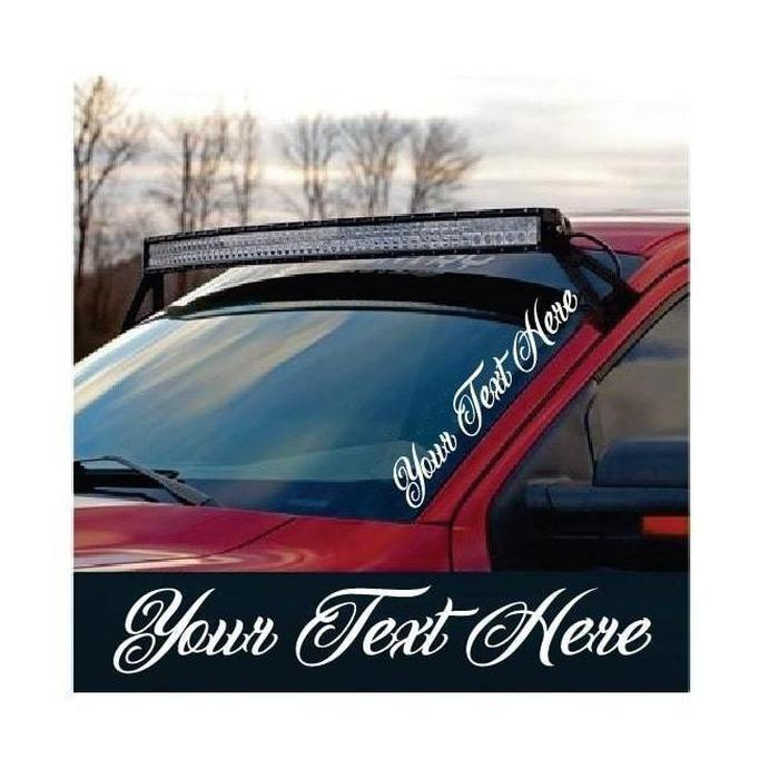 Custom Text Windshield Side Banner Decal Sticker