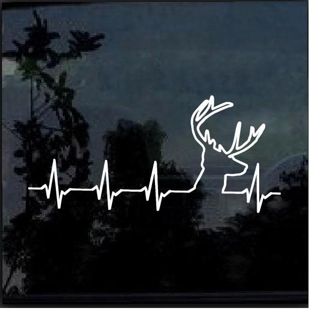 Deer heartbeat buck Hunting Window Decal Sticker