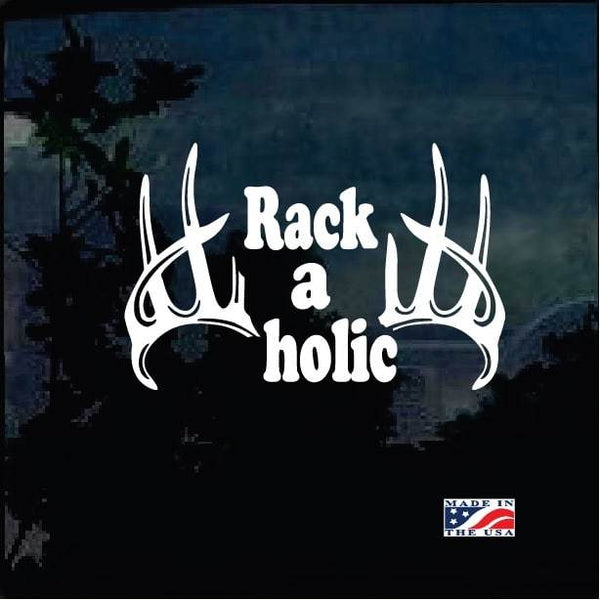 Deer Hunter Rack a holic Funny Hunting Window Decal Sticker
