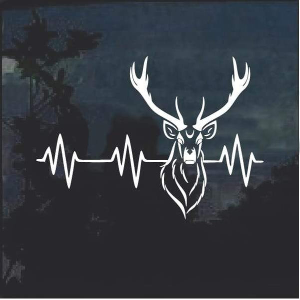 Deer Hunting Heartbeat Buck Tribal Window Decal Sticker