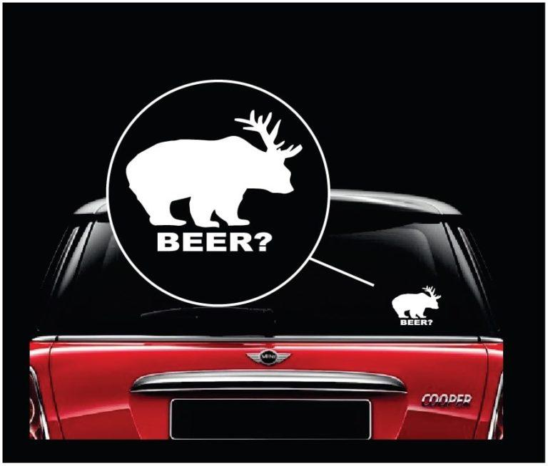 Deer plus Bear equals Beer II funny Hunting Window Decal Sticker