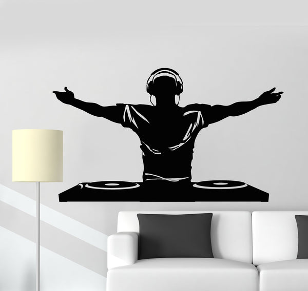 Vinyl Wall Decal DJ Music Disco Headphones Nightclubs Stickers Mural