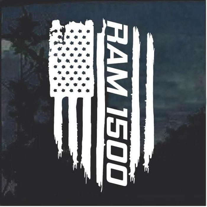 Dodge Ram 1500 Weathered Flag Decal Sticker
