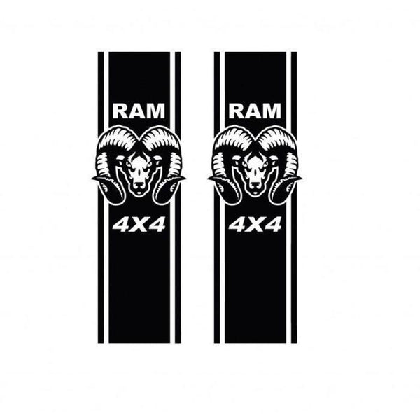 Dodge Ram Head 4x4Sticker set of 2 Stripes – 4×4 Decals