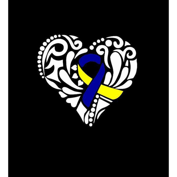 Down Syndrome Heart Ribbon Window Decal Sticker