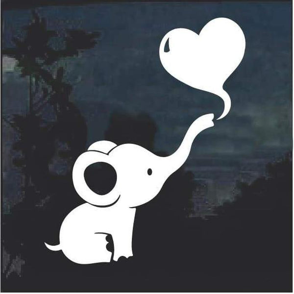 Dumbo Baby Elephant Heart Cute Window Decal Sticker