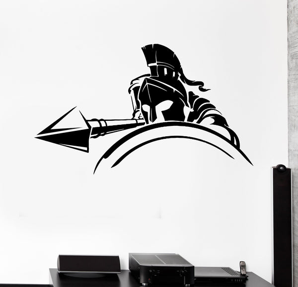 Wall Decal Spartan Warrior Spear Attack Knight Shield Army Vinyl