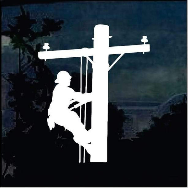 Electric Pole Lineman Utility Worker Decal Sticker