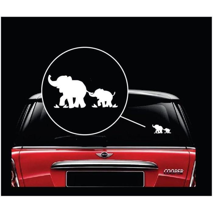 Elephant Decal – Mom and Baby Elephant Sticker a2