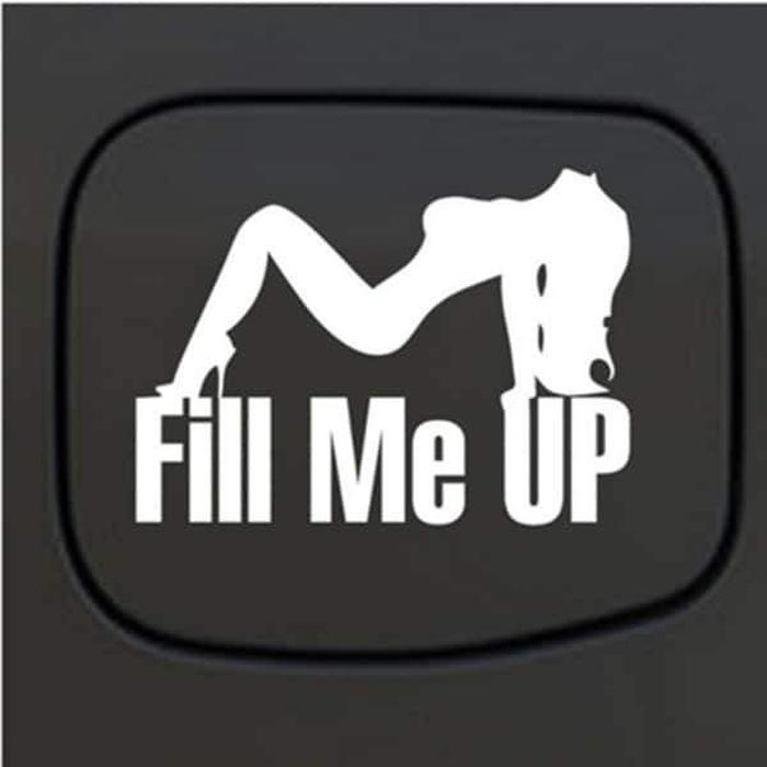 Fill Me Up Sexy Mudflap Girl Fuel Door Truck Decal Sticker