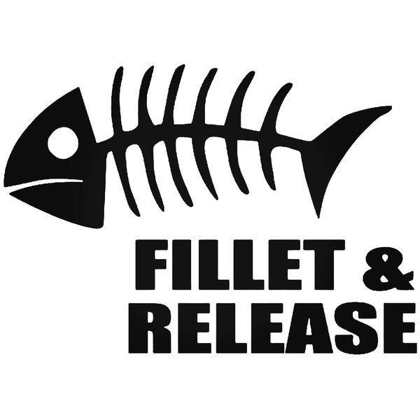 Fillet And Release Fish Bones Decal Sticker