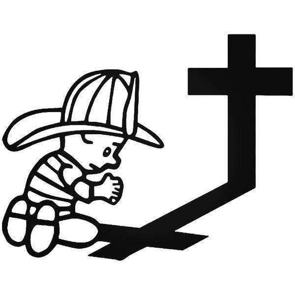 Firefighter Praying Decal Sticker