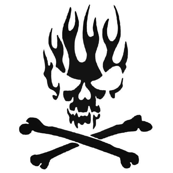 Flaming Skull And Crossbones Decal Sticker