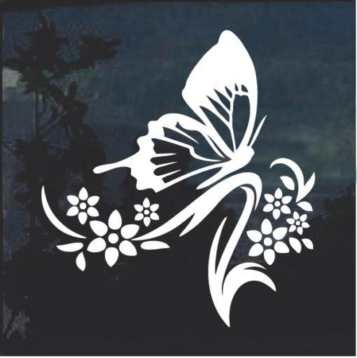 Floral Design with Butterfly Window Decal Sticker v3