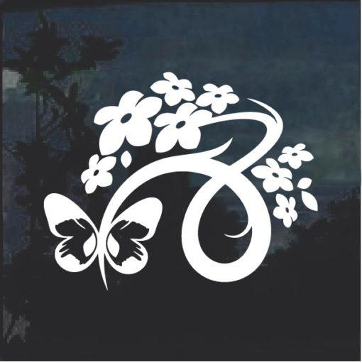 Floral Design with Butterfly Window Decal Sticker v5