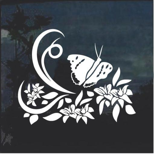 Floral Design with Butterfly Window Decal Sticker v6