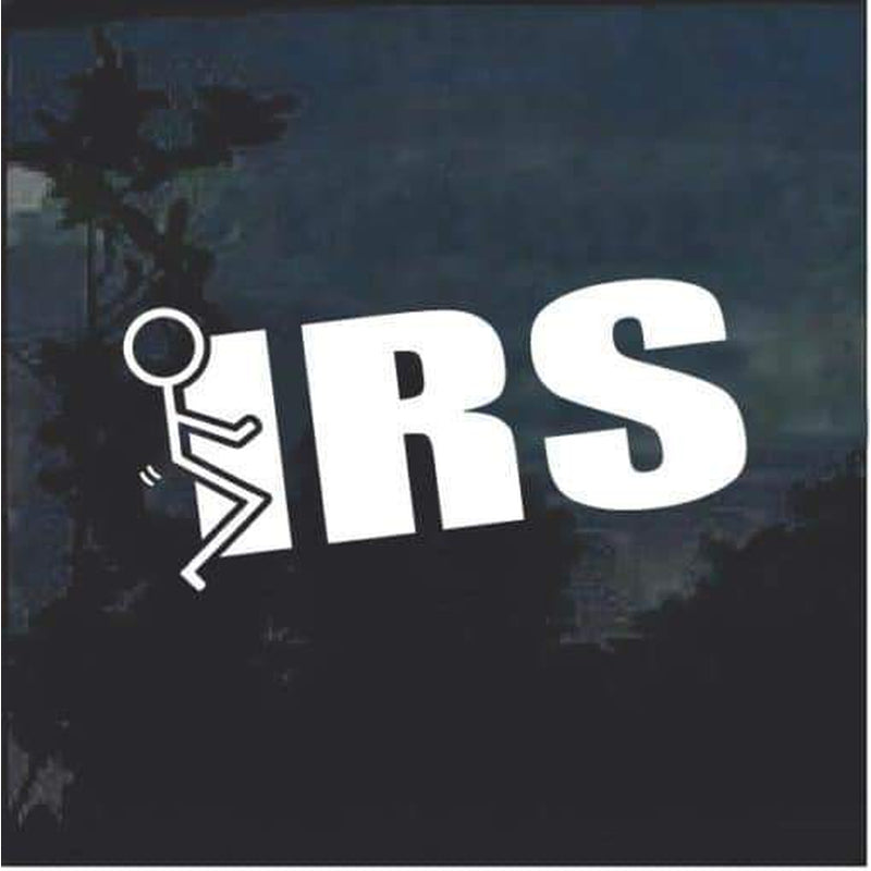 Fuck the IRS Stick man Window Decal Sticker