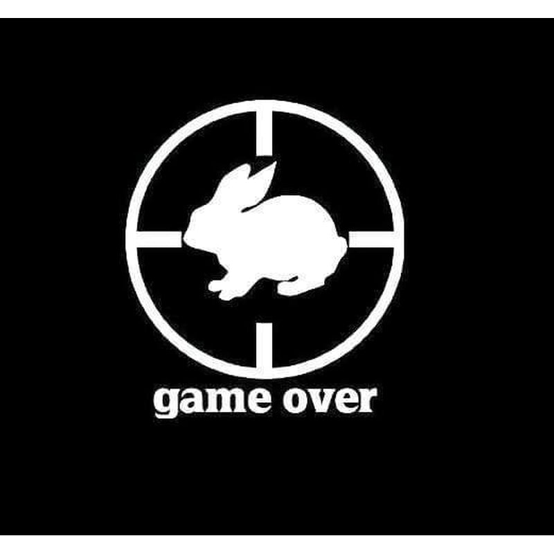 Game Over Rabbit Hunting Window Decal Sticker
