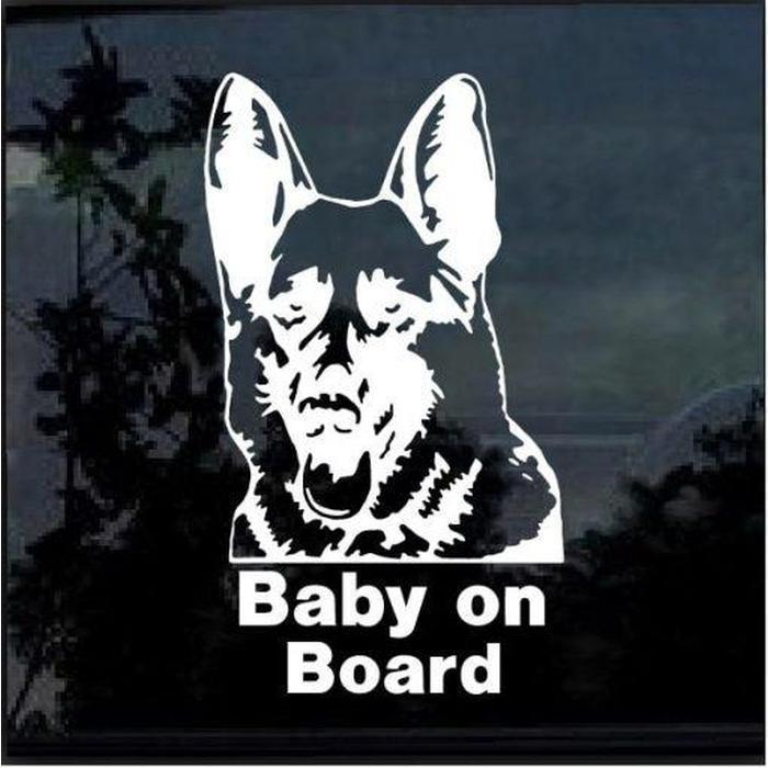 German shepherd baby on board Window Decal Sticker