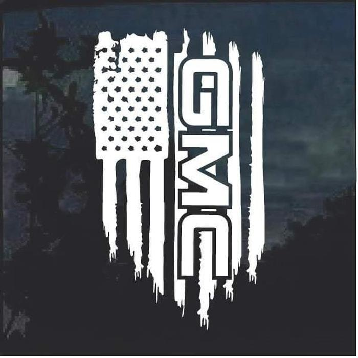 GMC Weathered Flag Decal Sticker