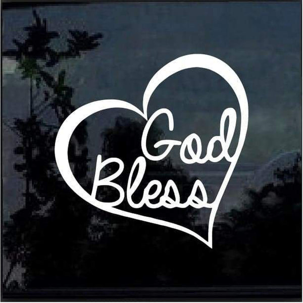God Bless Heart Window Decal Sticker