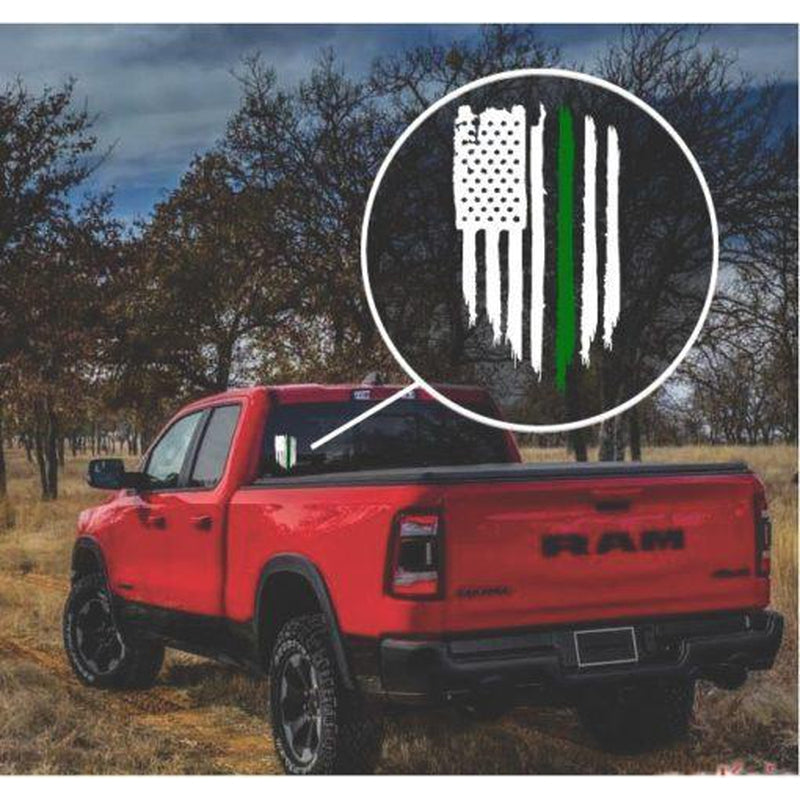Green Line Military Weathered Flag Decal Sticker
