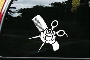 Hair Stylist Decals -Comb and Rose Car Sticker