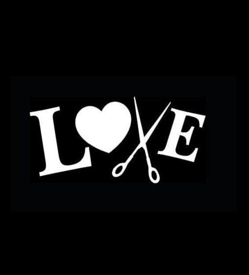 Hair Stylist Love Scissor Decal Sticker