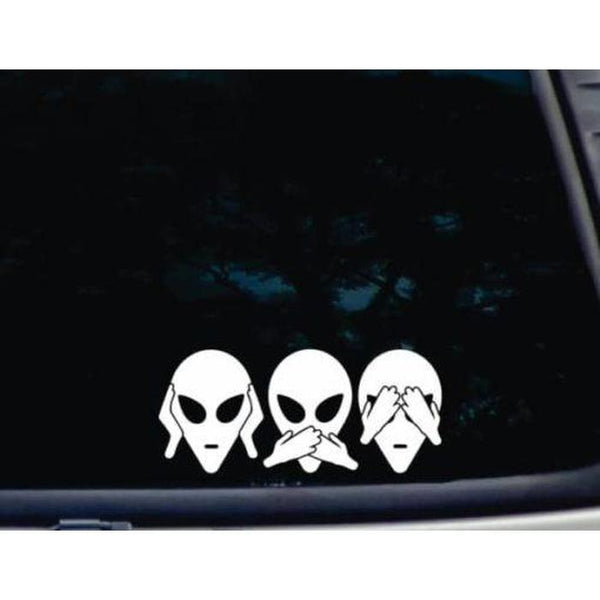Hear Speak See no Evil Alien Window Decal Sticker