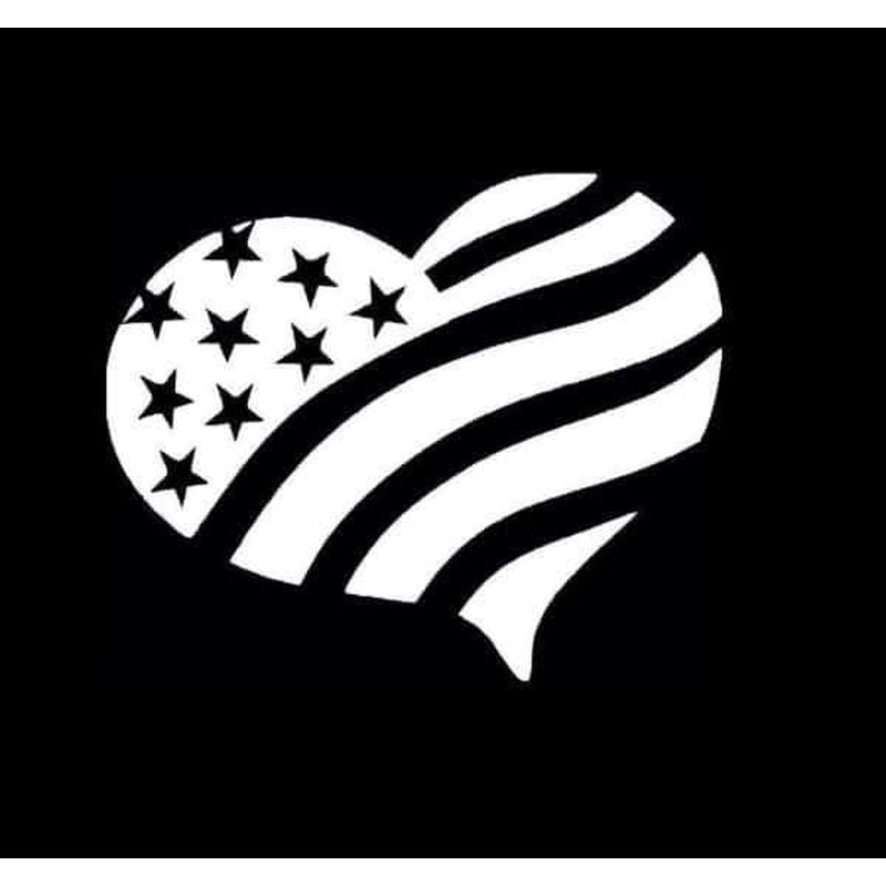 Heart Flag USA Window Decal Sticker