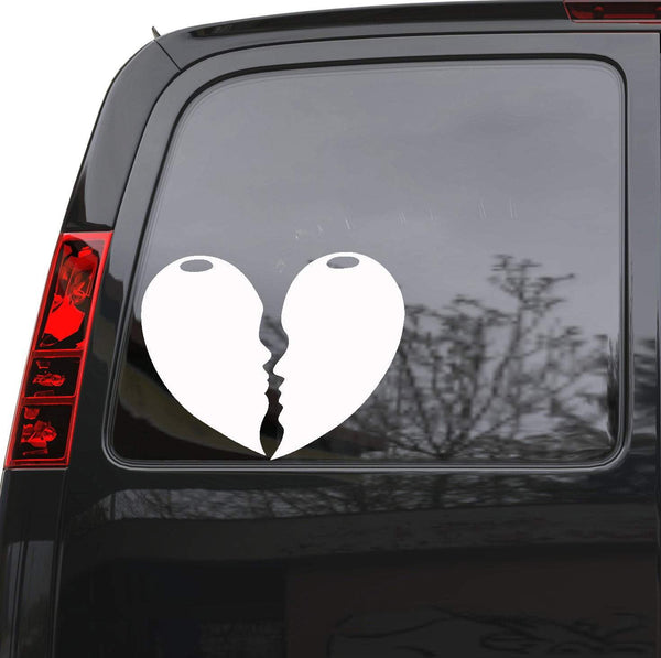 Auto Car Sticker Decal Broken Heart Kisses Love Romance Truck Laptop