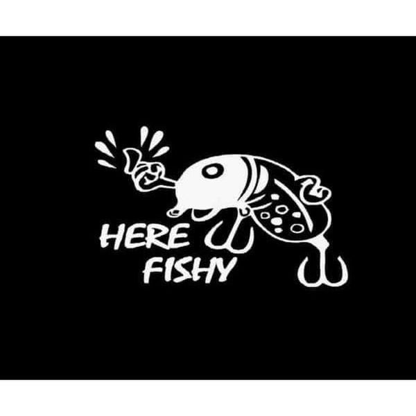 Here Fishy Lure Fishing Decal Stickers