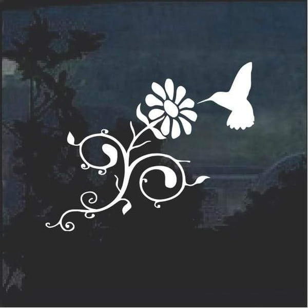 Hummingbird and Daisy Flower Window Decal Sticker a2