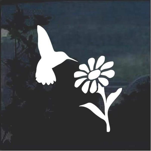 Hummingbird and Daisy Flower Window Decal Sticker