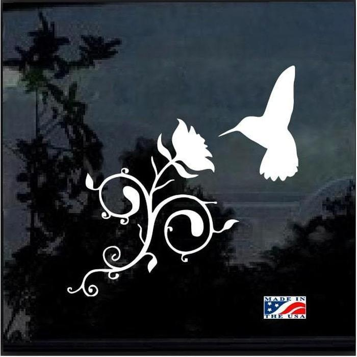 Hummingbird and Rose Flower Window Decal Sticker