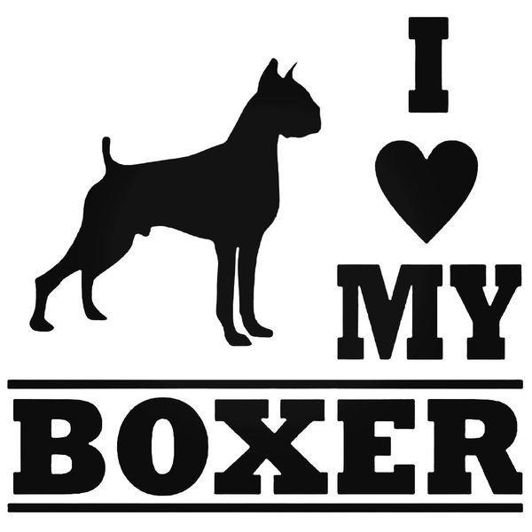 I Love My Boxer Dog Decal Sticker