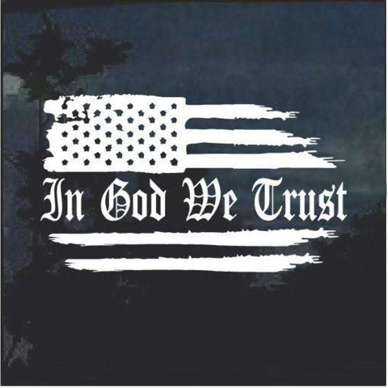 In God We Trust Weathered Flag Window Decal Sticker