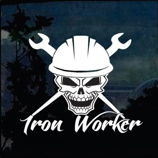 Iron Worker Skull Decal Sticker
