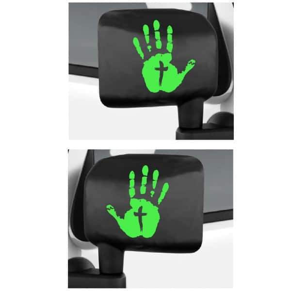 Jeep Wave Hand Cross Mirror Decals Set of 2